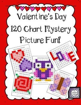 Valentine's Day 120 Chart Mystery Picture Fun! This is a set of 5 fun printable worksheets for students to practice place value and recognizing colors and numbers on a 120 chart. Use the key to color in the boxes and reveal a hidden picture!    *Two work pages are included for differentiation! Hearts, LOVE, owl, rose, butterfly