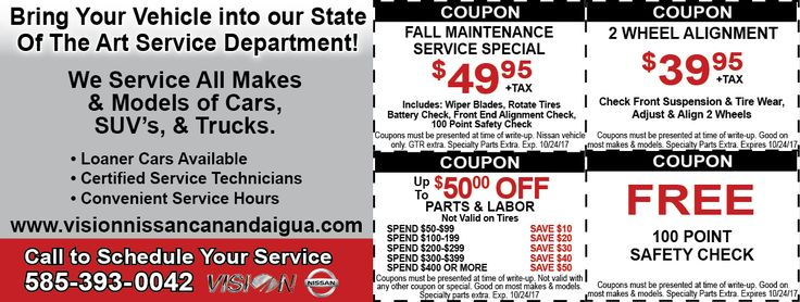vision nissan canandaigua auto coupons of the month. Black Bedroom Furniture Sets. Home Design Ideas