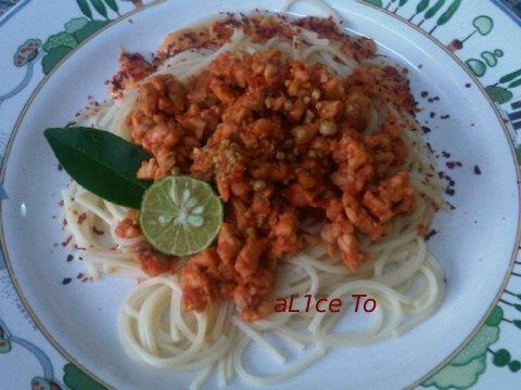 Spaghetti with Bean-curd Cake Bolognaise sauce