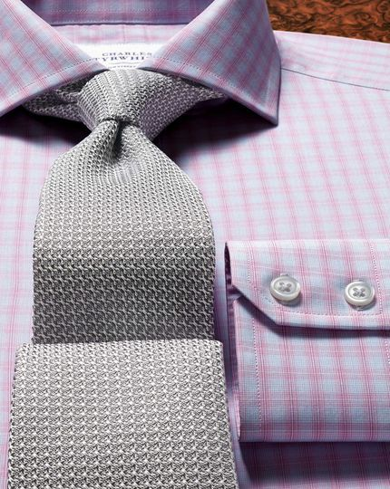 Slim fit cutaway collar Egyptian cotton compact check pink men's formal shirt