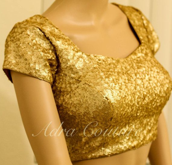 Gold sequin saree blouse by Adracouture on Etsy