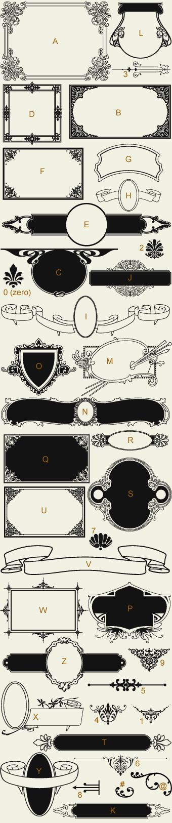 Letterhead Fonts, Frames and Labels ~ LHF Classic Panels 1 / Old Fashioned Panels & Scrolls