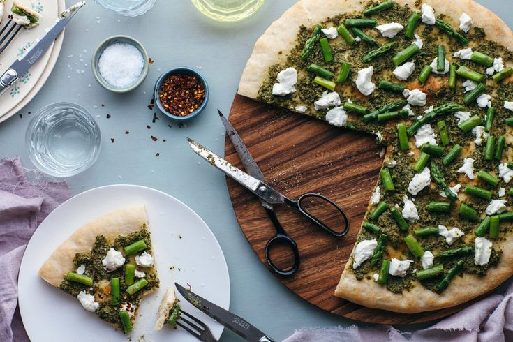Asparagus Pizza with Caper Salsa and Goat Cheese