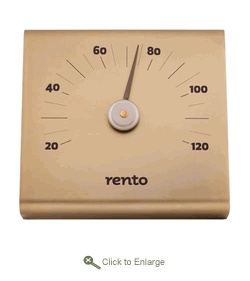 Rento Aluminum Sauna Thermometer  A simple design in an elegant shade, the Rento Aluminum Sauna Thermometer in the champagne color effectively keeps track of your sauna's temperature as you sit and bask in the heat. Measuring 15 x 14 x 3 cm, this nearly perfect square thermometer is made of aluminum and registers heat in Celsius.