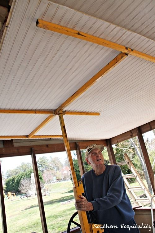 using drywall jack to hang beadboard on porch ceiling