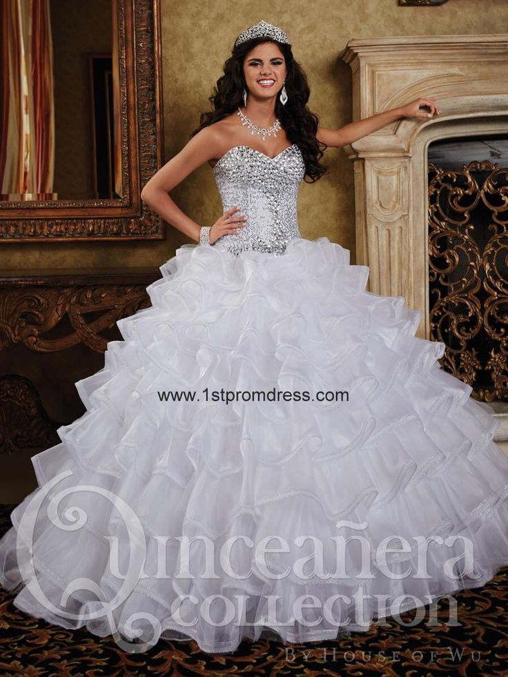 Sweet 16 white and silver sequined dress Maleiah's Sweet