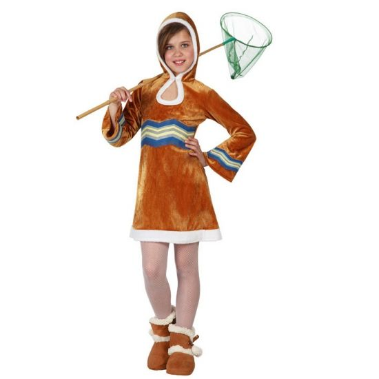Eskimo jurkje voor meisjes. Eskimo verkleedkleding voor meisjes. Dit jurkje is in verschillende maten verkrijgbaar. Carnavalskleding 2015 #carnaval