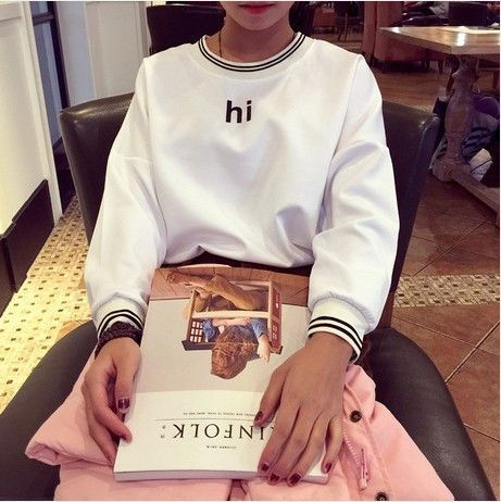 Casual Sweatshirt College Wind Retro Simple Round Neck Cashmere Harajuku Letters