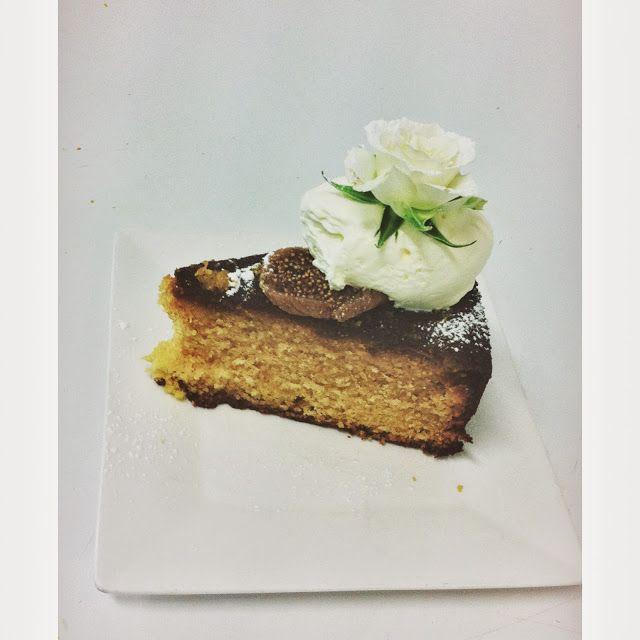 Fig & Orange Polenta Cake Plated up so elegantly by the girls at  The Silva Spoon Tea & Coffee Emporium Cotton Tree QLD @alita_johnson
