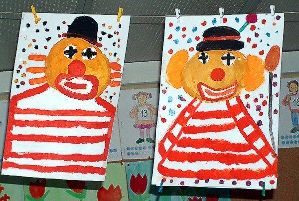 Clowns - Malerei mit Deckfarben