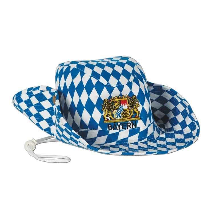 Pack of 6 Blue and White Diamond Pattern German Oktoberfest Outback Party Hats