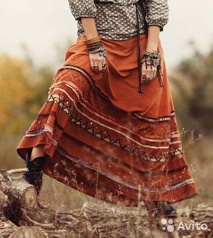 Вельветовая бохо-юбка Monsoon