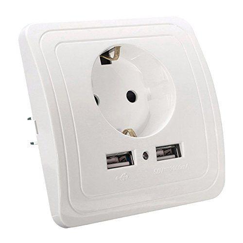 250V EU Prise Murale Chargeur USB Secteur 2 Ports Adaptateur Chargeur Mural Universel Appareil Électrique Pour iPhone iPad: 100 % tout neuf…