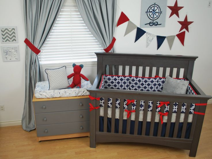 Nautical theme nursery with Navy and Red crib bedding and accents of grey.  Banner by Back at the Pond Designs for  Pine Creek bedding.