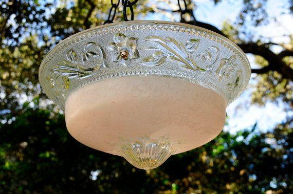 Pink glass hanging bird feeder  bird bath  by StellaErwins on Etsy