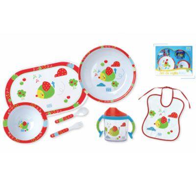 €19.90 Vajilla 7 piezas Happy ratón SARO Vajilla de melamina. Incluye: plato, cuenco, vaso con asas, babero, mantel, cuchara y tenedor.