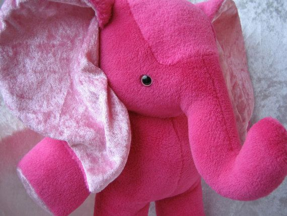 Soft Toy or Home Decor PINK ELEPHANT Cranberry Raspberry FUCHSIA handmade by TALLhappyCOLORS.Etsy.com