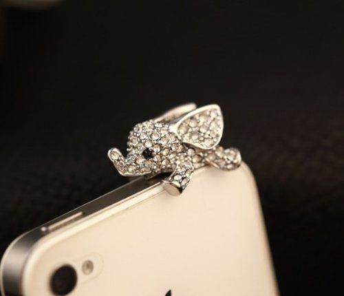 cool Big Mango Cute Crystal Elephant Anti Dust Plug Stopper / Ear Cap / Cell Phone Charms for Apple iPhone 5 5S,iPhone 4 4s ,iPad Mini iPad 2 ,iPod Touch 5 4,Samsung Galaxy S3 S4 Note3 Note 2,HTC and Other 3.5mm Earphone Jack Phones ( Silver )