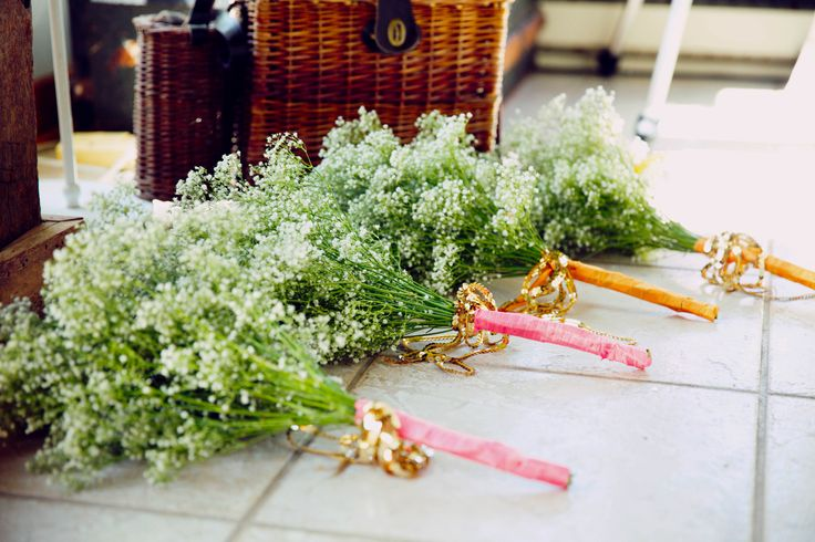 bridemaids flower, pink, gold, blush, ribbons, baby's breath