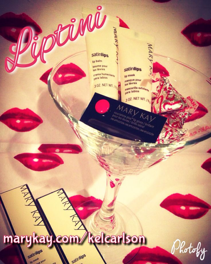 """Ask me about my special """"Liptini"""" gift set! Includes full size Satin Lips set, sample size Mary Kay lipstick (select colors), assorted candy and full size martini glass (select colors or clear). Great for birthday gifts, hostess gift, bachelorette gift or bridesmaid presents and of course holiday / Christmas gift! www.marykay.com/kelcarlson"""
