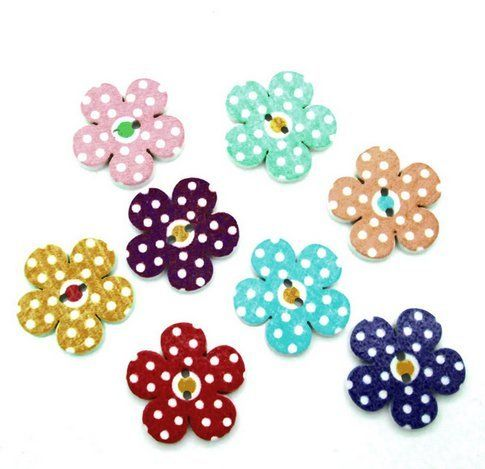 Flower Shaped Buttons Home Decoration Crafts Wooden Buttons SCrapbooking 50Pcs 2 Holes Mixed Wood Sewing Buttons 19X19MM ** Find out more about the great product at the image link.