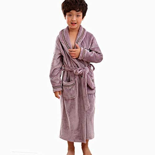 d8958d9c7fea HUIFANG Children s Pajamas Purple Flannel Autumn and Winter Boys and Girls  Bathrobes Thick Bathrobe Bathrobes (Color   Purple Male