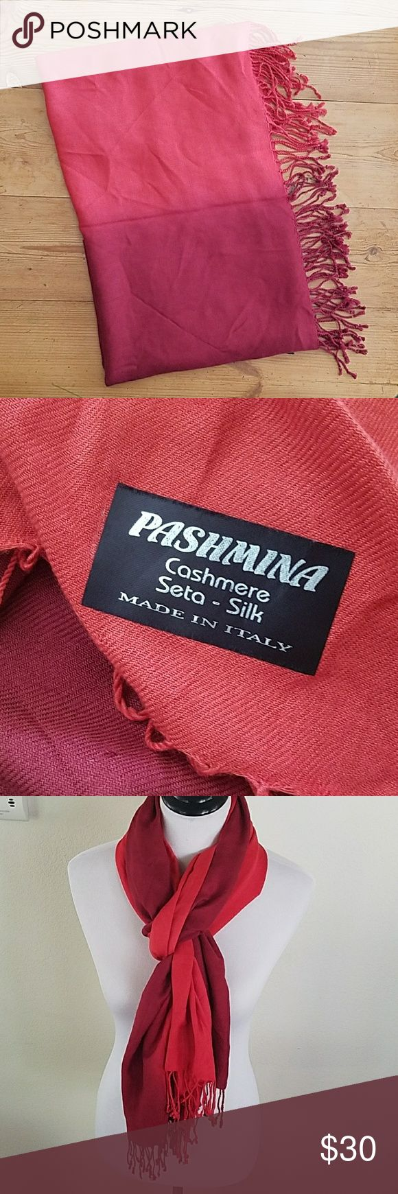 """Red Ombre Pashmina Wrap Scarf Very nice Red ombre Pashmina scarf wrap, in good shape.  Approx. 76"""" long, 28"""" wide, tassles 3"""".  Happy to answer questions, thanks!❤ Pashmina Accessories Scarves & Wraps"""