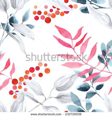 Watercolor seamless pattern with branches rowan berry. Winter background.