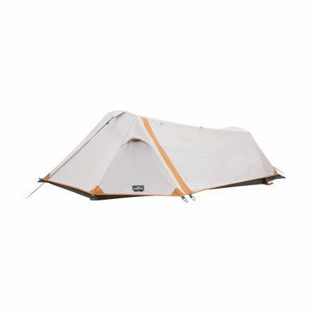 A Lightweight one-person tent, tunnel-shaped with single entry design.