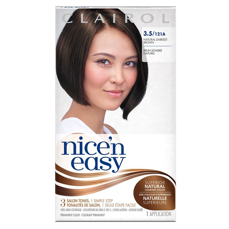 Clairol Nice 'n Easy 3.5 121A Natural Darkest Brown 1 Kit. Get natural-looking color with Clairol Nice 'N Easy 3.5 Natural Darkest Brown. Creates 3 salon tones and highlights in 1 simple step using ColorBlend technology. Covers 100% of grays with complementary highlights and lowlights for an authentic look. Get permanent brown hair color that lasts up to 8 weeks. One hair color application kit: ColorBlend Formula, ColorBlend Activator, CC Plus ColorSeal Conditioner, Expert gloves…