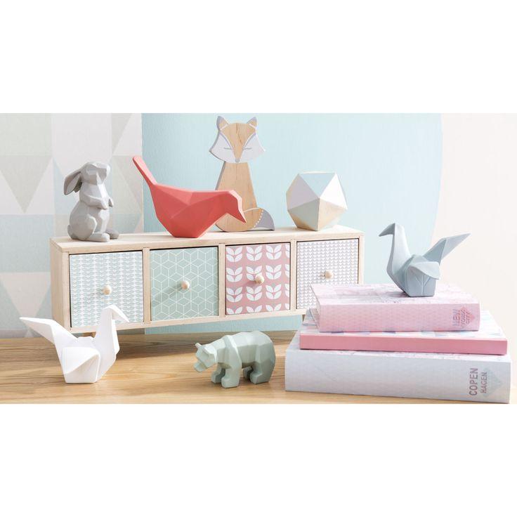 Boîte 4 tiroirs en bois multicolore L 45 cm MELINA   Maisons du Monde