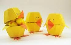 Egg Carton Chicks:  Cut one cup out of a cardboard egg carton.  Paint it yellow.  Glue on an orange beak and paint on two black eyes.  Fill the cup with candy or something more healthy like raisins