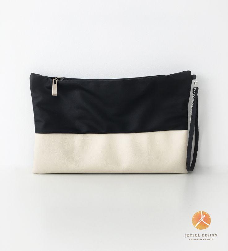 Black&white handmade clutch