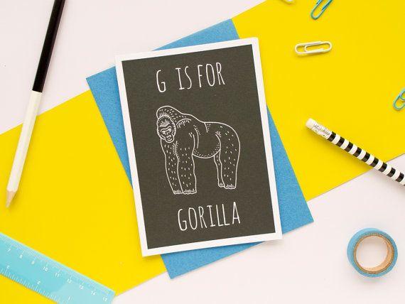 Gorilla Card. Animal Alphabet Card. 100% by DarwinDesignsCards