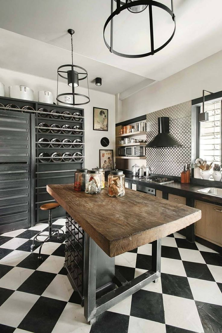 Black Tiles In White Kitchen