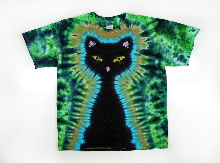 Tie Dye T Shirt, Adult, Black Cat, Green Background, Eco-friendly Dyeing by SunflowerTieDyes on Etsy https://www.etsy.com/listing/115755995/tie-dye-t-shirt-adult-black-cat-green