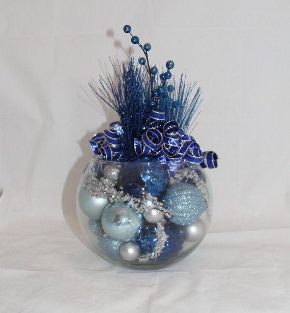 Christmas Centerpiece  Sapphire and Light by GlitterGlassAndSass