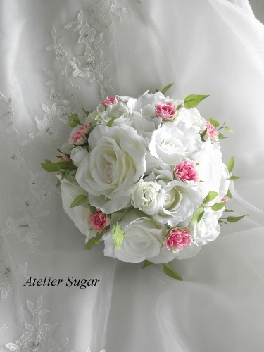 Rose round bouquet with smailax and minirose. (made by artificial flower) design and work:Akiko Noguchi