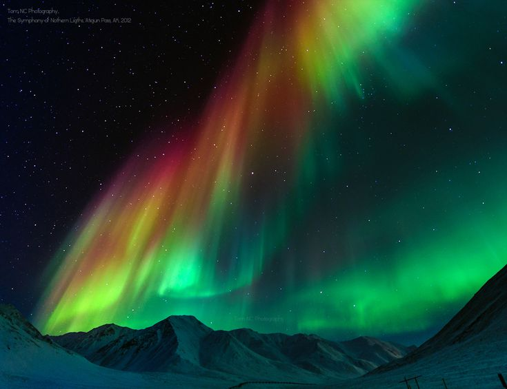 The Symphony of Northern Lights; photograph by Tom Charoensinphon. Atigun Pass, Dalton