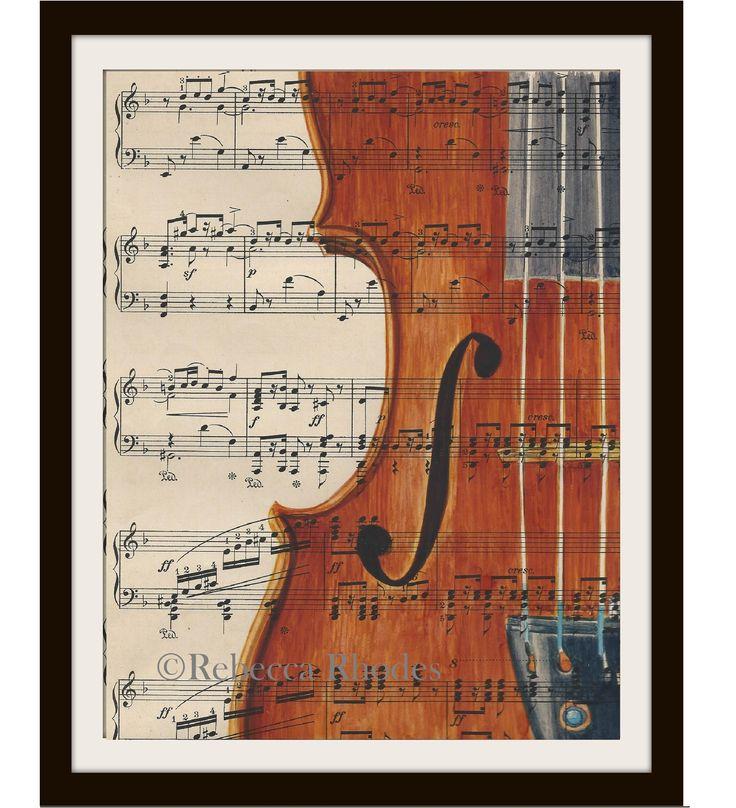 Watercolor on Old Sheet Music – Violin rebeccarhodesart.com