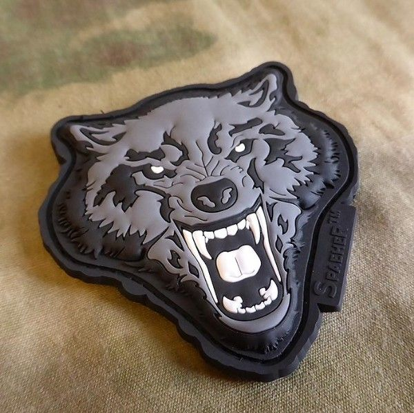 JTG WOLF HEAD BLACK PVC patch