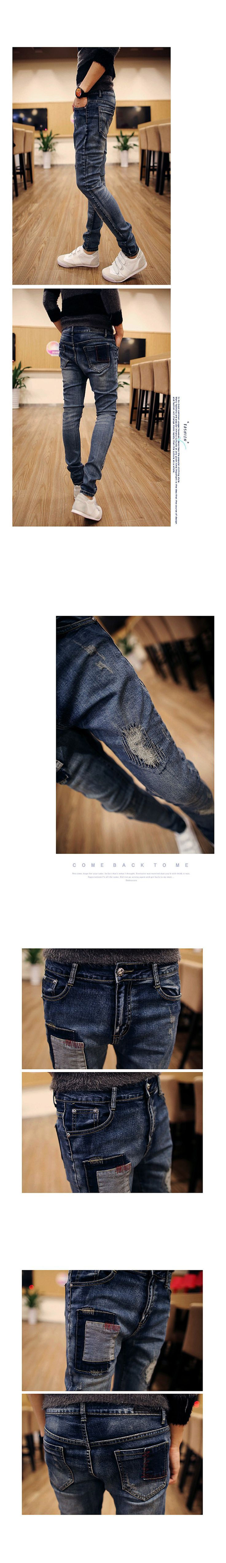 CANIS Fashion male Ripped skinny jeans men Biker Jeans Destroyed Frayed Slim Fit Denim Pants jean homme-in Jeans
