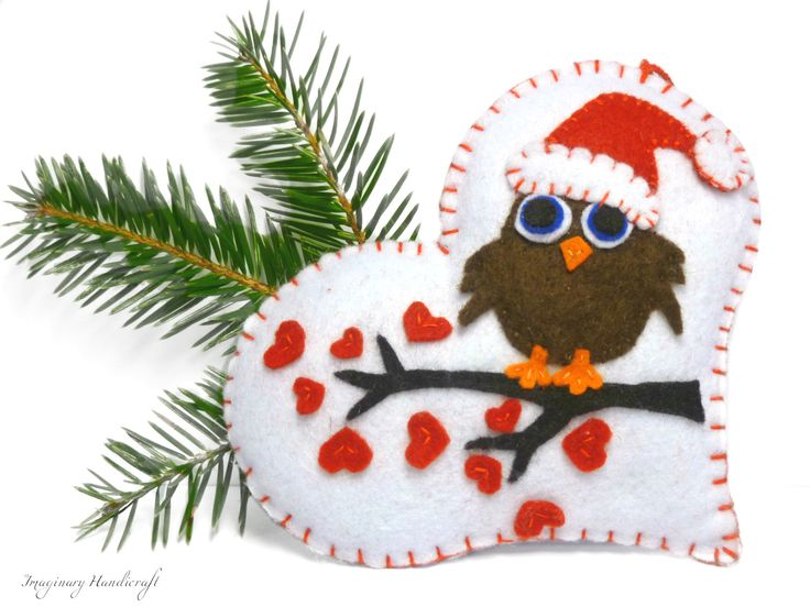 Owl on a Heart / Christmas Ornament / by ImaginaryHandicraft, $16.00