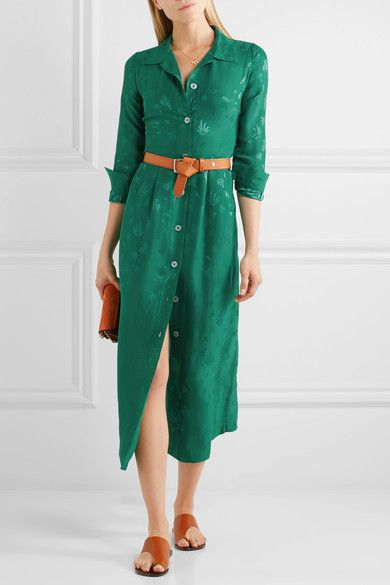Maje - Jacquard Midi Dress - Forest green -