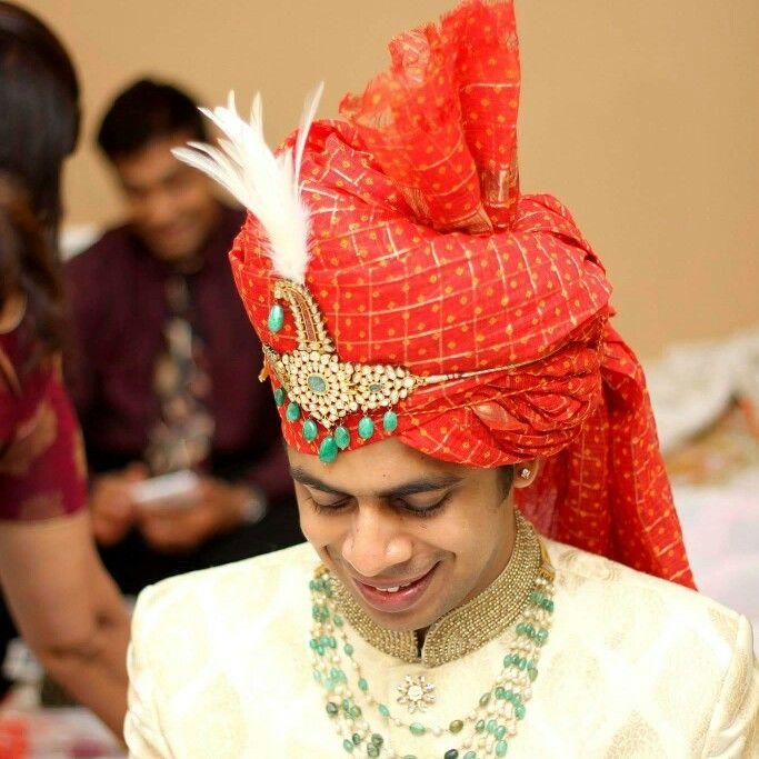 Groom indian wedding red safa cream sherwani