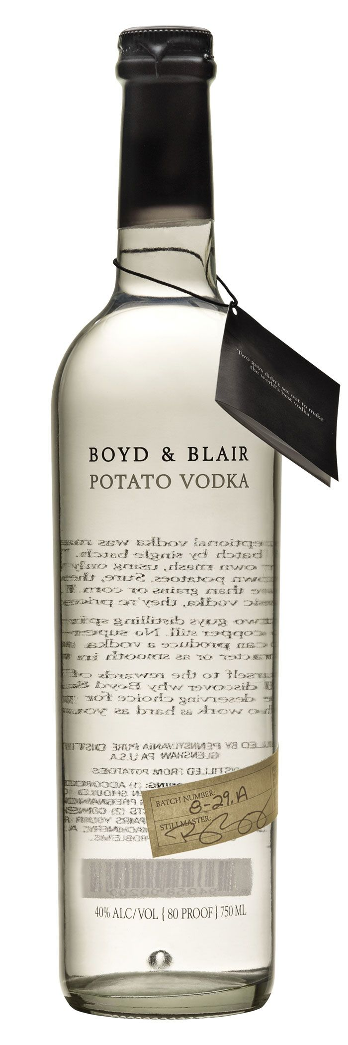 Chemistry Inc, Boyd & Blair Potato Vodka. Beautiful typography on this simple bottle. The type showing through from the back creates a unique effect, and the hand-written sticker makes the drink seem personalized and even more exclusive. The color of the type blends perfectly with the color of the vodka.