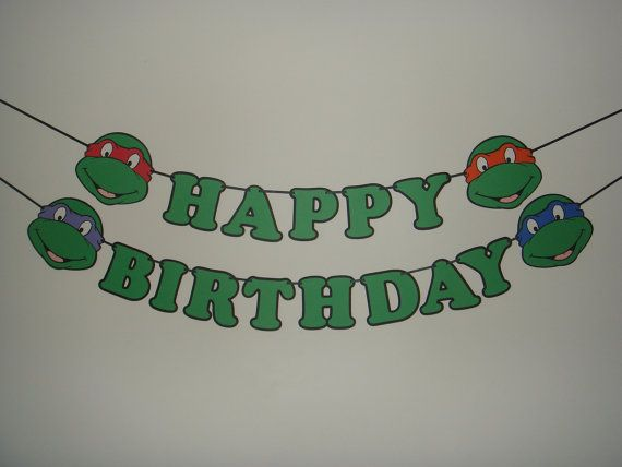 Teenage Mutant Ninja Turtles happy birthday by TheCutesyShelf, $25.00