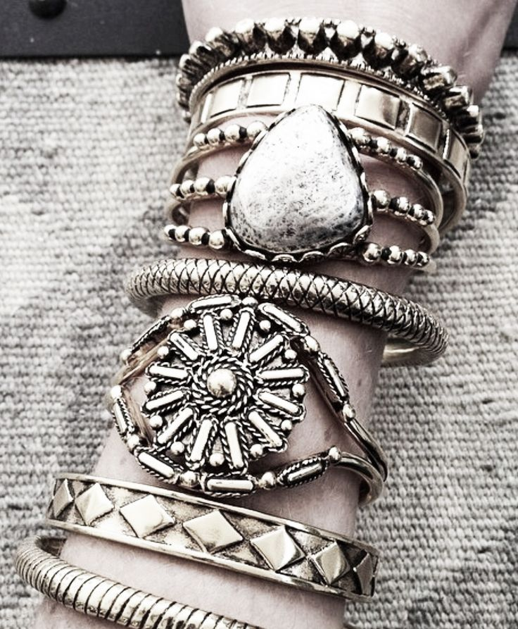 stacked silver bangles