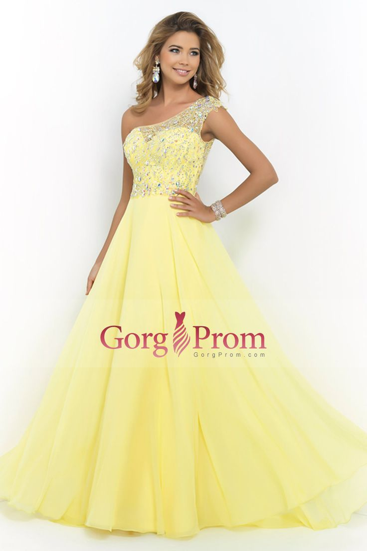 2015 One Shoulder A Line Prom Dress Beaded Tulle And Chiffon Court Train