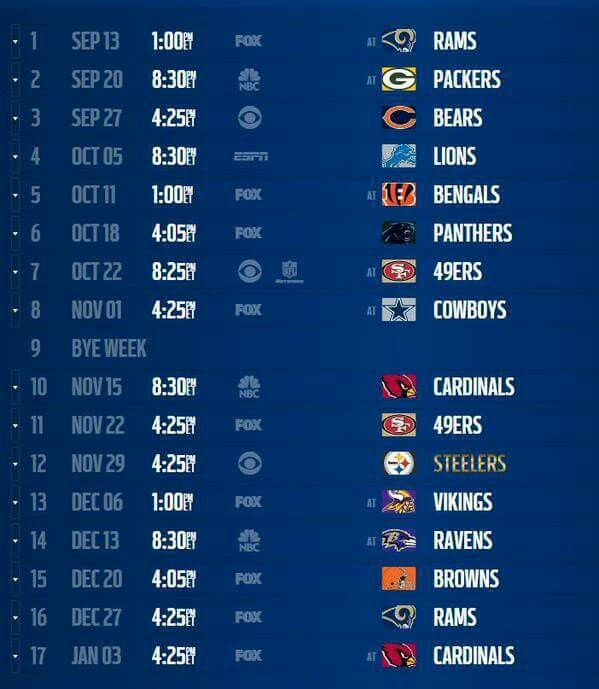 2015/2016 Seattle Seahawks Schedule